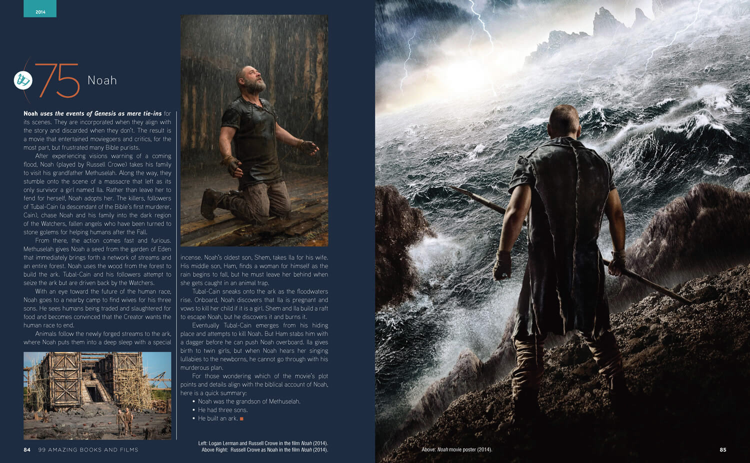 Noah 99 books and film page spread design