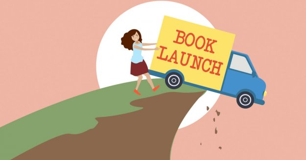 """A truck with the words """"Book Launch"""" on the side being driven off the side of a cliff."""